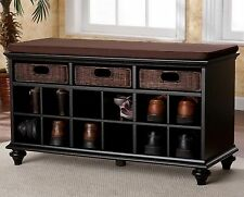 New Black Entryway Storage Bench Rattan Basket Drawers 12 Shoe Shelves Cushion