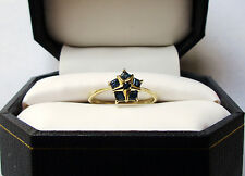 Star Style, Solid 10k Yellow Gold And Genuine Square Blue Sapphire Ring. Sz. 7.