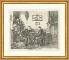 Die Schachspieler Holzstich Uhr Pokale Kommode Männer Stühle Tischdecke E 1351