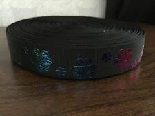 1m Black With Glitter Dog Paw Print Collar Lead Printed Grosgrain Ribbon, 22mm