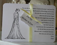 MOTHER IN LAW-Thank You Card-Keepsake-Personalised-Wedding Day-White Card