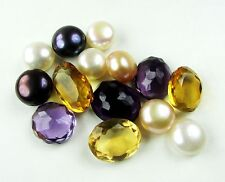 97.80 Ct.Sensational Natural Mixed Shape Citrine+Amethyst+Black+White Pearl Lot