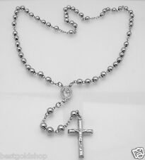 "6mm 24"" Anti-Tarnish Solid Rosary Cross Chain Necklace Real 925 Sterling Silver"