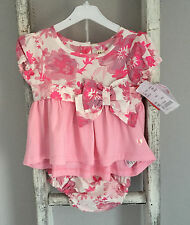 BNWT Baby Girl Hatley 2 Piece Romper Outfit Size 3-6 Months Floral Pink White