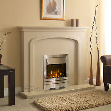 ELECTRIC CREAM SURROUND SILVER FIRE WALL MOUNTED FIREPLACE SET SUITE LARGE 54""