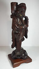 "VINTAGE CHINESE SOLID HARDWOOD CARVING CANDLESTICK - 14"" CARVED WOODEN FIGURE"