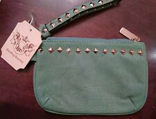 Vegan Strapped Clutch by Handbag Republic Teal with Gold Hardware and Studs