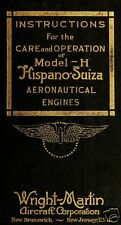 Hispano-Suiza H (8) Aero Engine Manual historical archive 1918 WWI WW1 VERY RARE