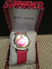 Betsey Johnson Ladies Watch Pink Croc Band with Silver Mirror Lips BJ00108-13