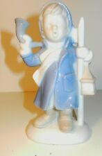 Lefton Blue & White Boy Caroler Figurine w/Coat & Scarf/Lampost & Horn~Vintage