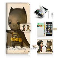 iPhone 5 5S Print Flip Wallet Case Cover! Cute Batman and Robin P0031
