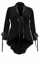 Dark Star Victorian Black Velvet Swallow Tailed Jacket Satin Collar & Lacing M-L