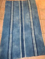 "Vintage African,Dogon Indigo Resist Dyed Fabric/Hand Woven Cotton Strips/58""x34"""