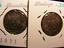 Mauritius 10 Cents, 1971, Uncirculated - Mintage only 300K