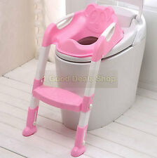 TEDDY Child Toddler Kids Toilet Potty Trainer Training Chair Step Up Ladder PINK