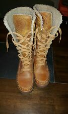 Timberland Snow boots,  lined, cream/tan, lace up size 8.5