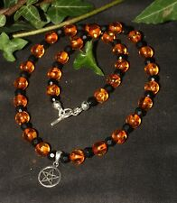 Amber and Jet Witches Necklace with Silver Pentagram - Wicca, witchcraft
