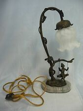 VINTAGE FAIRY ON A SWING BRONZE LAMP - OPAQUE GLASS SHADE