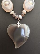 "18"" Natural Grey Botswana Agate Heart Pendant Sterling Silver Necklace"