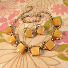 Vintage 1960s Goldtone & Butterscotch Thermoset Necklace & Clip Earring Set