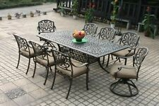 """8 Person Outdoor Furnitur Aluminum 9pc Patio Dining Set With 84"""" Rectangle Table"""