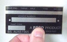 Cortina Escort Mk2, placa de chasis Mk1-condecoración de Ford