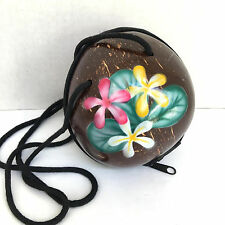 Coconut Shell Beach Polished Shoulder Strap Zipper Floral Brown Handbag Purse