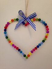 Shabby Chic Handmade Button Hanging Heart LARGE  Rainbow Colours Home Gift