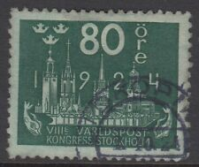 SWEDEN: 1924 Eighth Congress  of the U.P.U 80  ore blue-green SG 172  fine used