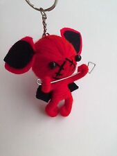 KEY CHAIN RING VOODOO RED DEVIL DOLL HOLD SPEAR STRING ROPE YARN BAG KEYCHAIN