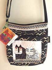 Laurel Burch cross body strap black, gold and beige Cat print bag NWT