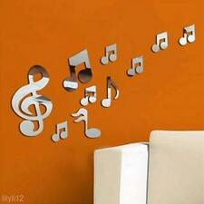 Modern Removable Plastic Musical Notes Mirror Wall Room Decal Decor Art Sticker