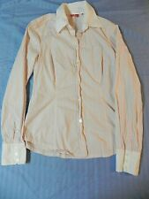 EUC Esprit Ladies Long Sleeve Fitted Button Down Shirt Pink & White Stripes M