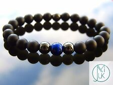 Elegant Blue Tigers Eye Natural Gemstone Men Bracelet Elasticated 7-8''