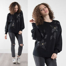 VINTAGE BLACK FLORAL APPLIQUE MOHAIR BLEND JUMPER SWEATER KNIT 80'S WOMENS 10