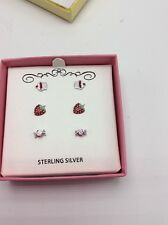 $80 Macy Children Stud Earrings Cup Cake Candy Strawberry Sterling Silver