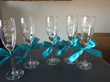 Personalizzata champagne vetro per matrimonio, sposa, sposo gallina, damigelle d'onore.