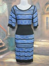 KAREN MILLEN SIZE 2 GB 10 STUNNING BLUE BLACK LATTICE FINE KNIT STYLE DRESS H52