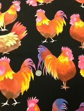 100% Cotton Quilting Fabric Michael Miller Rockin Rooster Neon Black 45""