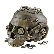 Steampunk Skull Industrial Age Mechanical Techno Trinket Box Container