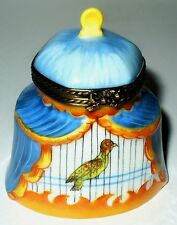 LIMOGES BOX ~ ROCHARD ~ COLORFUL BIRD IN A CURTAINED CAGE ~ PEINT MAIN
