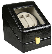 TOP QUALITY LEATHER AUTOMATIC DOUBLE WATCH WINDER BOX  PI-E