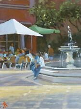 """NEW ORIGINAL MICHAEL RICHARDSON """"The Corner Cafe"""" Brittany, France OIL PAINTING"""