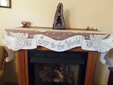 New White Lace Christmas Joy to the World Design Mantel Scarf