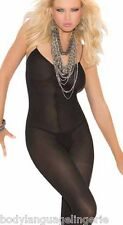 XL-2X black OPAQUE {01} CROTCHLESS BODYSTOCKING PLUS SIZE LINGERIE
