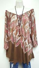 Anthropologie MNG  of the shoulder bohemian tunic boho peasant blouse TOP XL