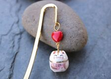 Lucky Cat Gold Bookmark- white cat, pink fish & red heart - Maneki nek