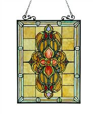 "CH3P320VI24-GPN Victorian Tiffany Style Stained Glass Window Panel 18""W X 25""H"