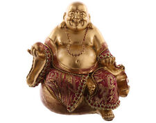 Chinese Buddha Happy Sitting On Money Sack. Wealth Good Fortune.Feng Shui