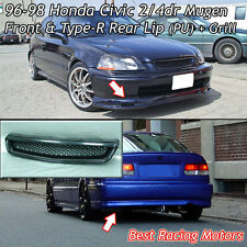 Mu-gen Style Front + TR Style Rear Lip (PU) + Grill (ABS) Fits 96-98 Civic 2dr